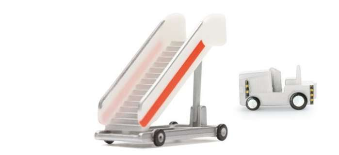 Passenger Stairs (2) W/Tractor (1:200), Herpa 1:200 Scale Diecast Airliners Item Number HE551809