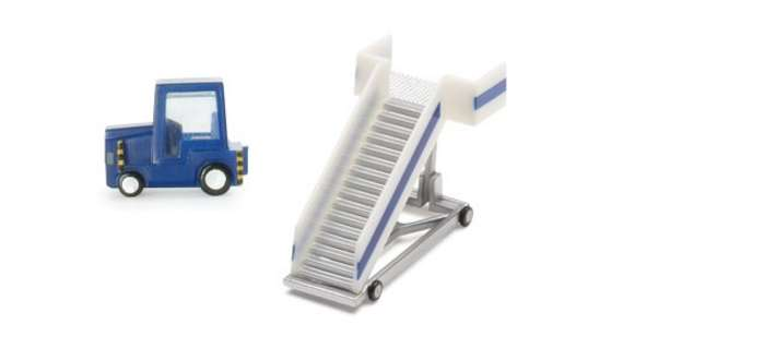 Passenger Stairs (2) W/Tractor (1:200), Herpa 1:200 Scale Diecast Airliners Item Number HE551861