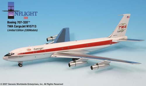 TWA 707-320 CargoJet (1:200), InFlight 200 Scale Diecast Airliners Item Number IF70028