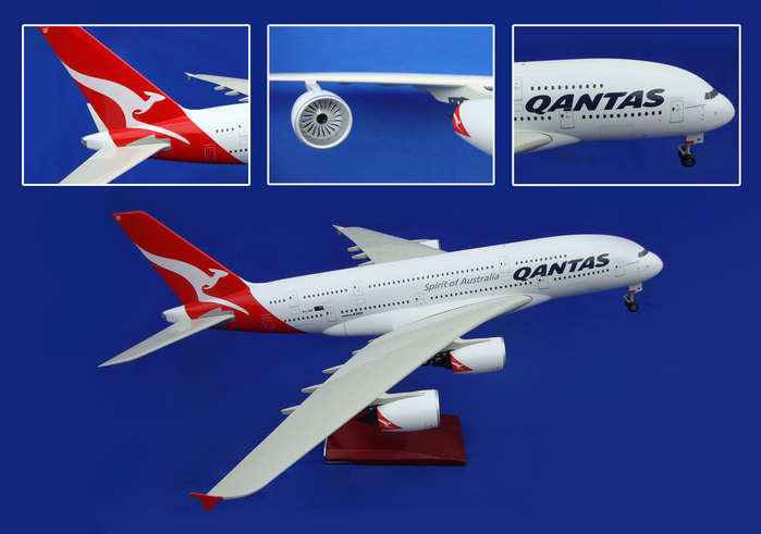 Qantas A380 With Wood Stand & Gear (1:100) by Skymarks Supreme Desktop Aircraft Models item number: SKR8502
