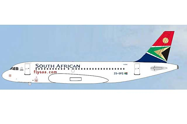 South African Airways A319 ZS-SFG (1:400), AeroClassics Models Item Number AC19150