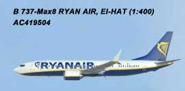 Ryanair 737-8MAX EI-HAT (1:400) by AeroClassics Models Item Number AC419504