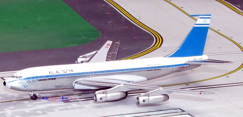 EL AL Israel Airlines B720B Old Colors 4X-ABB (1:400), AeroClassics Models Item Number ACELY0616A