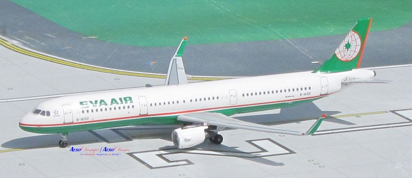 EVA Air A321 winglets B-16212 (1:400), AeroClassics Models Item Number ACEVA0416A