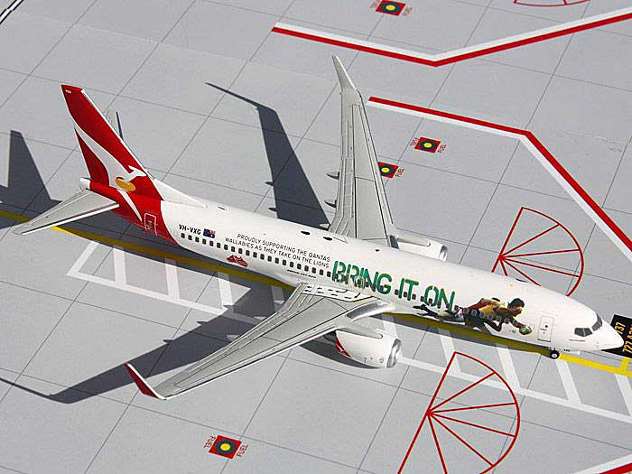 "Qantas 737-800 ""Bring It On"" VH-VXG (1:200), GeminiJets 200 Diecast Airliners, Item Number G2QFA439"