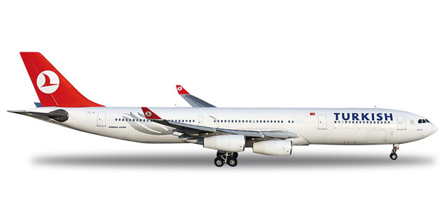 Turkish A340-300 (1:200) REG# TC-JII, Herpa 1:200 Scale Diecast Airliners Item Number HE556149