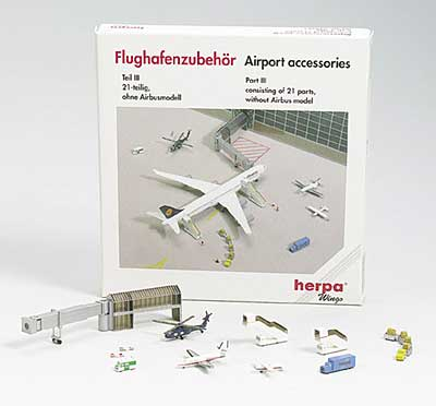 Airport Accessory Set 3 - 17 Pieces set (1:500), Herpa 1:500 Scale Diecast Airliners Item Number HE519595