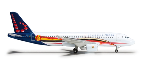 Brussels A320 (1:500) Red Devils, Herpa 1:500 Scale Diecast Airliners Item Number HE526371