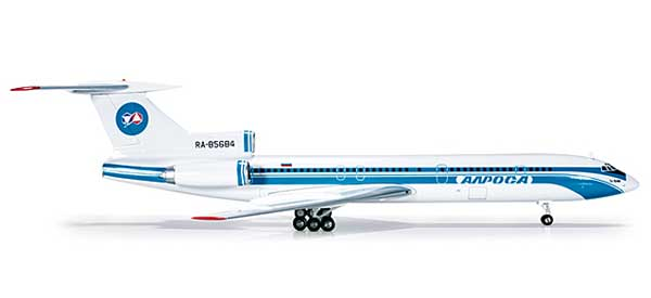 Alrosa Mirny Enterprises TU154M (1:200), Herpa 1:200 Scale Diecast Airliners Item Number HE554763