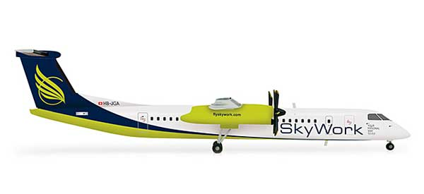 Sky Work Dash 8-Q400 (1:200), Herpa 1:200 Scale Diecast Airliners Item Number HE554923