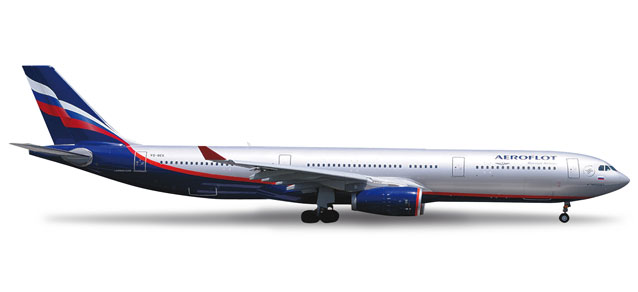 Aeroflot A330-300 (1:200) VQ-BEK, Herpa 1:200 Scale Diecast Airliners Item Number HE555609