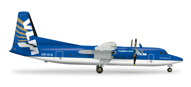 "VLM Airlines Fokker F-50 (1:200) ""flyvlm.com"" OO-VLS, Herpa 1:200 Scale Diecast Airliners Item Number HE555647"