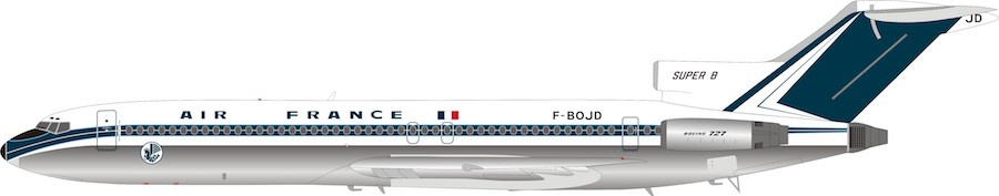 Air France Boeing  727-200 F-BOJD Polished (1:200) - Preorder item, order now for future delivery, InFlight 200 Scale Diecast Airliners Item Number B-722-AF-01P