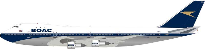 BOAC Boeing 747-100 G-AWNL Polished (1:200) - Preorder item, order now for future delivery, InFlight 200 Scale Diecast Airliners Item Number B-741-BOAC-NLP