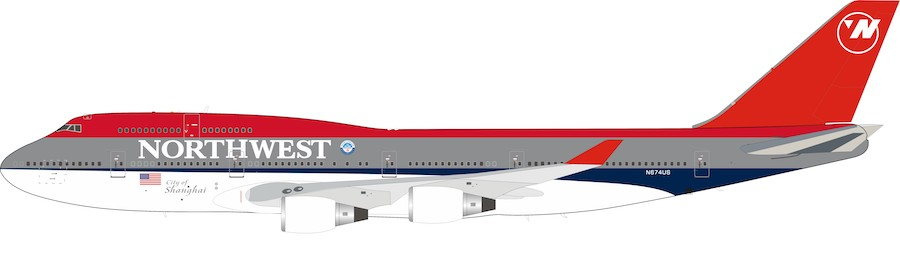 "Northwest Airlines Boeing 747-400 N674US ""City of Shanghai"" (1:200)"