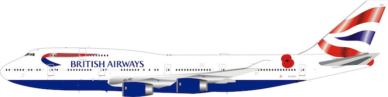 British Airways Boeing 747-400 G-CIVJ (1:200) limited 84 models  - Preorder item, order now for future delivery, InFlight 200 Scale Diecast Airliners, Item Number B-744-POP-1218