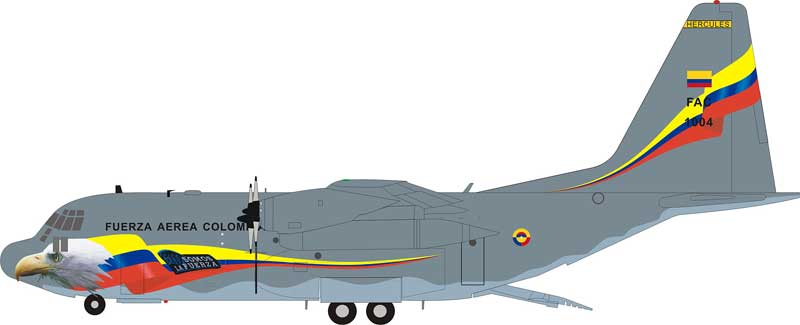 "Fuerza Aerea Colombia ""Colombian Air Force"" Lockheed C-130H Hercules (L-382) ""Somos La Fuerza"" FAC1004 (1:200) - Preorder item, Order now for future delivery"