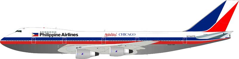 "Philippine Airlines 747-2F6B N744PR ""Mabuhay Chicago"" Polished, With Stand (1:200), InFlight 200 Scale Diecast Airliners Item Number IF2742PAL0615PB"