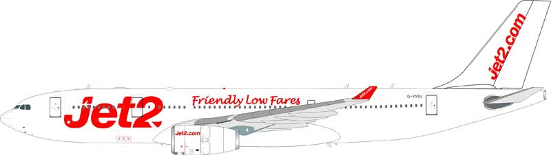 Jet2 Airbus A330-243 G-VYGL (1:200) - Preorder item, Order now for future delivery, InFlight 200 Scale Diecast Airliners Item Number IF332LS001