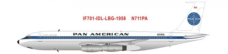 Pan Am Boeing 707-121 N711PA Clipper America 60th Anniversary Model First Transatlantic Flights (1:200) - Preorder item, order now for future delivery, InFlight 200 Scale Diecast Airliners Item Number IF701-IDL-LBG-1958-P