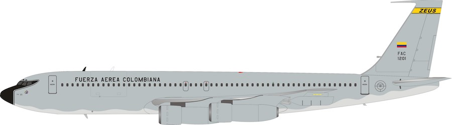 Colombia - Air Force Boeing 707-300 FAC1201 With Stand (1:200) by InFlight 200 Scale Diecast Airliners SKU IF707COL0519