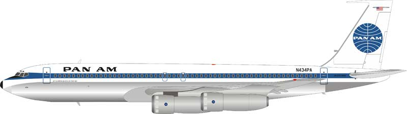 Pan Am Boeing 707-300 N434PA Polished, with stand (1:200)