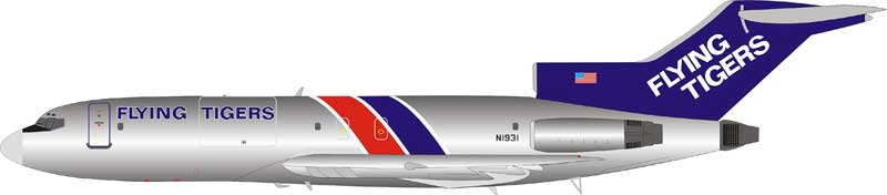 Flying Tigers Boeing 727-100 N1931 Polished (1:200)  LIMITED  by InFlight 200 Scale Diecast Airliners