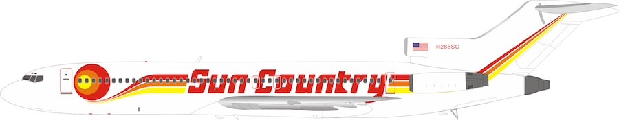 Sun Country Airlines Boeing 727-200 N288SC (1:200) by InFlight 200 Scale Diecast Airliners Item Number IF722SY0619