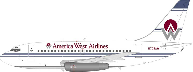 America West Airlines Boeing 737-100 N703AW (1:200), InFlight 200 Scale Diecast Airliners Item Number IF731HP001
