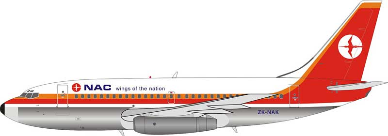 "NAC National Airways Corporation Boeing 737-200 ZK-NAK Polished ""Wings of the Nation"" (1:200) Limited 60 models  - Preorder item, Order now for future delivery"