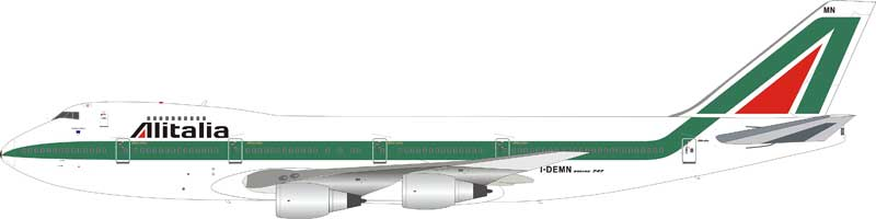 Alitalia Boeing 747-200 I-DEMN With Stand (1:200)