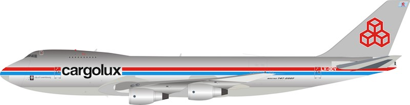 Cargolux Boeing 747-2R7F/SCD LX-DCV (1:200) 100 MODELS, InFlight 200 Scale Diecast Airliners, Item Number IF742CV1018P