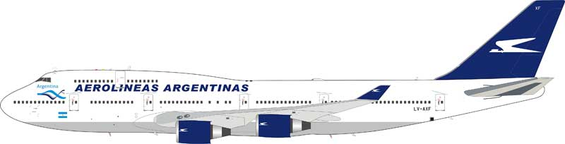 Aerolineas Argentinas Boeing 747-400 LV-AXF with stand (1:200)