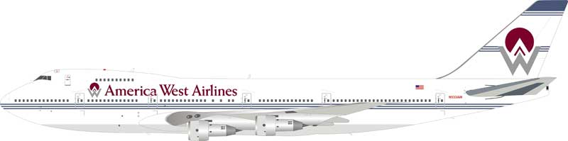 America West Airlines Boeing 747-200 N533AW (1:200), InFlight 200 Scale Diecast Airliners Item Number IF747HP001