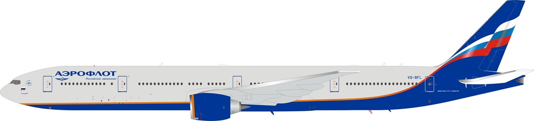 Aeroflot Russian Airlines Boeing 777-300/ER VQ-BFL with stand (1:200)