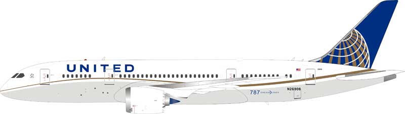 United Airlines Boeing 787-8 Dreamliner N26906 (1:200), InFlight 200 Scale Diecast Airliners Item Number IF78780118