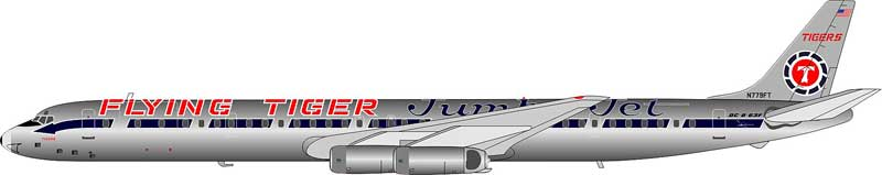 "Flying Tigers ""JumboJet"" scheme DC-8-63F N779FT polished (1:200) - Preorder item, Order now for future delivery"