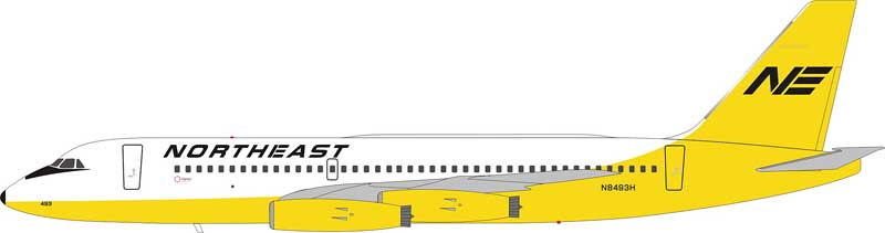 Northeast Airlines Convair 880 N8493H 1970s Yellowbird Colors (1:200) - Preorder item, Order now for future delivery