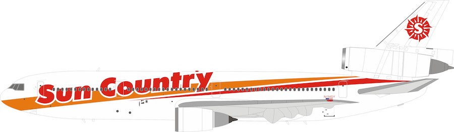 Sun Country Airlines DC-10-15 N154SY With Stand (1:200) by InFlight 200 Scale Diecast Airliners item number: IFDC10SY0519