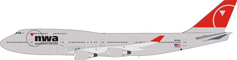Northwest Airlines Boeing 747-400 N676NW (1:200) - Preorder item, Order now for future delivery, JFox Model Airliners Item Number JF-747-4-046
