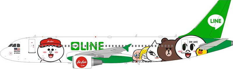 Air Asia Airbus A320-216 9M-AHR Line Friends Livery (1:200), JFox Model Airliners Item Number JF-A320-005