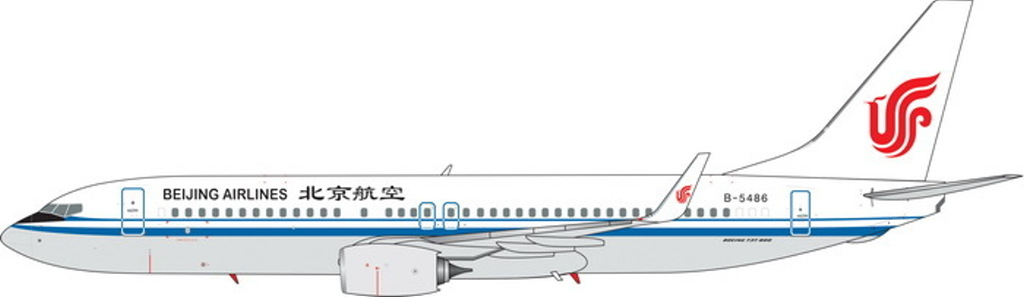 Beijing Airlines B737-800 Winglets B-5486 ((1:400)) -, Phoenix (1:400) Scale Diecast Aircraft, Item Number PH4BJN1824