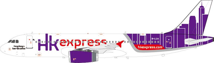 Hong Kong Express A320-200 B-LCA (1:400), Phoenix 1:400 Scale Diecast Aircraft Item Number PH4HKE1157