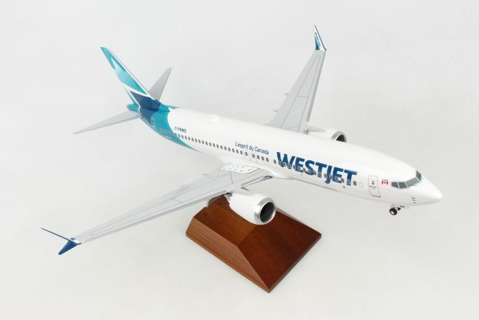 Westjet 737-MAX8 Wood Stand & Gear New Livery (1:100) by SkyMarks Airliners Models item number: SKR8276