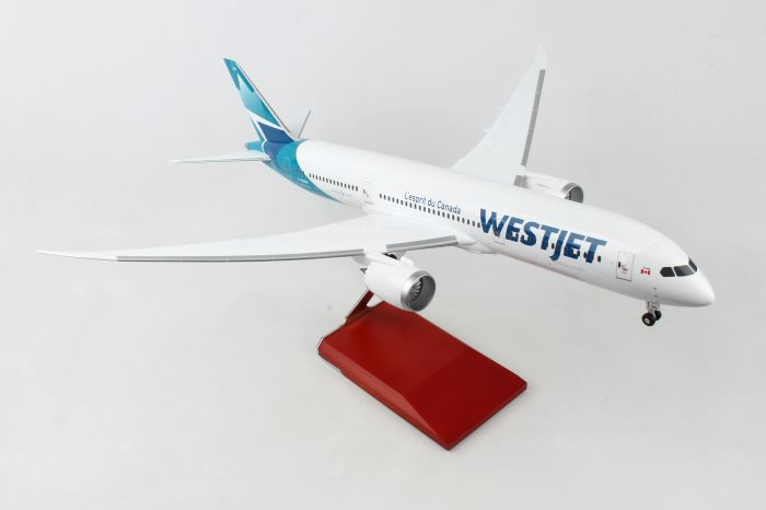 Westjet 787-9 With Wood Stand & Gear (1:100) by Skymarks Supreme Desktop Aircraft Models item number: SKR9005
