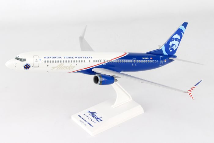 "Alaska Airlines B737-800 ""Honoring Those Who Serve"" (1:130) by SkyMarks Airliners Models item number: SKR917"