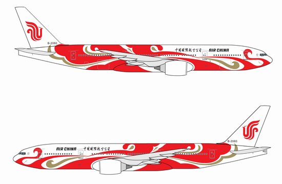 "Air China 777-200 ~ B2060 ""Red Phoenix"" (1:400), DragonWings 400 Diecast Airliners Item Number DRW56159R"
