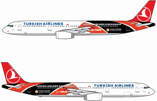 "Turkish Airlines A321 ""Turkish Airlines Euroleague"" - TC-JRO (1:400), DragonWings 400 Diecast Airliners Item Number DRW56378"