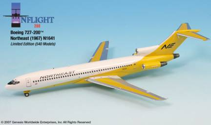 Northeast B727-200 (1:200), InFlight 200 Scale Diecast Airliners Item Number IF722016