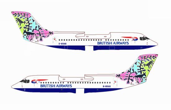 "British Airways Bae-146-300 ~ G-BXAS ""Animals & Trees"" (1:400), Jet X 1:400 Diecast Airliners Item Number JETBA004"